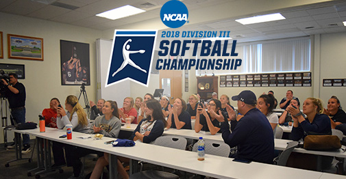 The Greyhounds celebrate hearing Moravian announced during the NCAA Division III Softball Selection Show.
