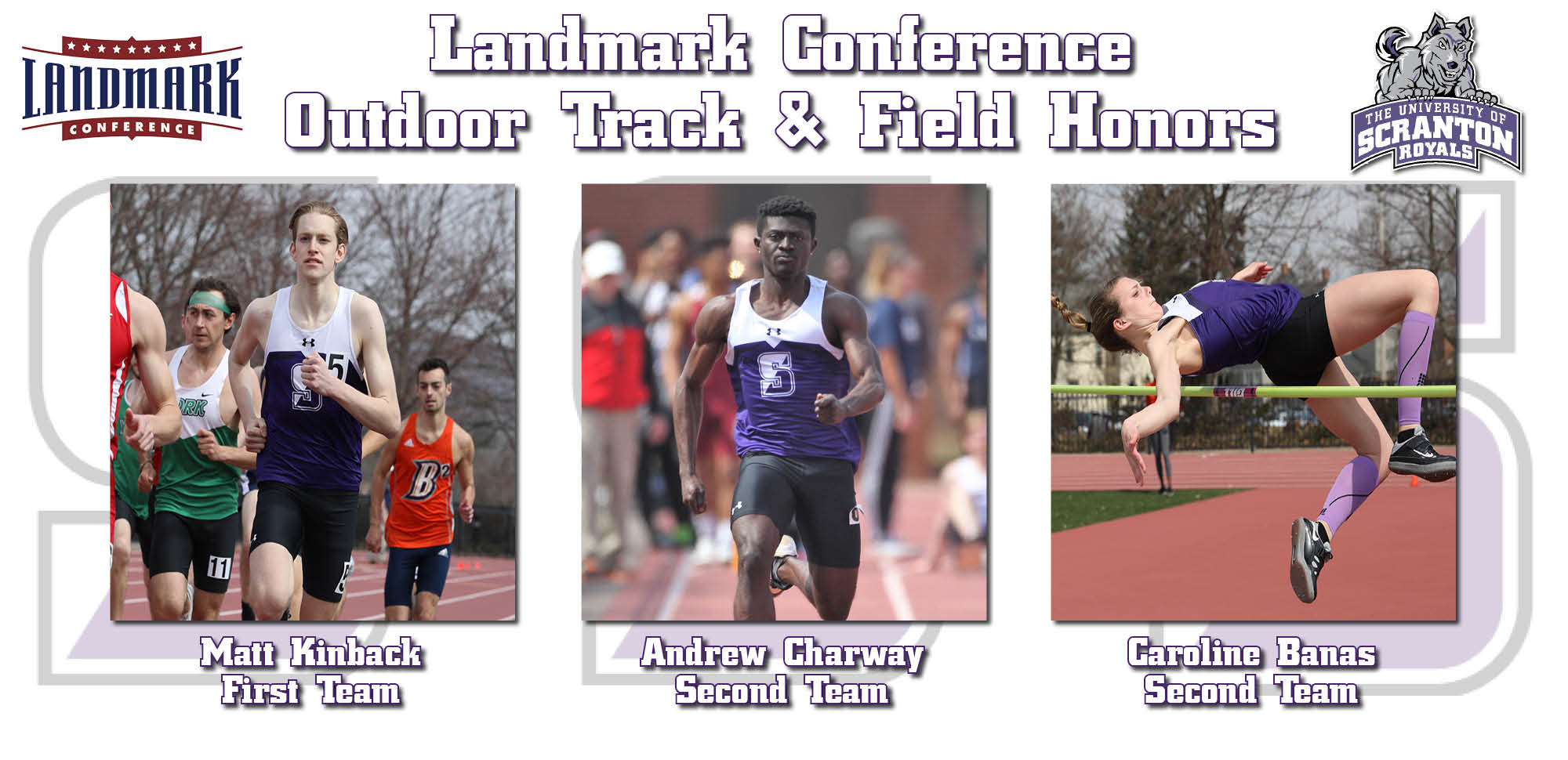 Kinback, Charway, and Banas Collect All-Landmark Conference Accolades