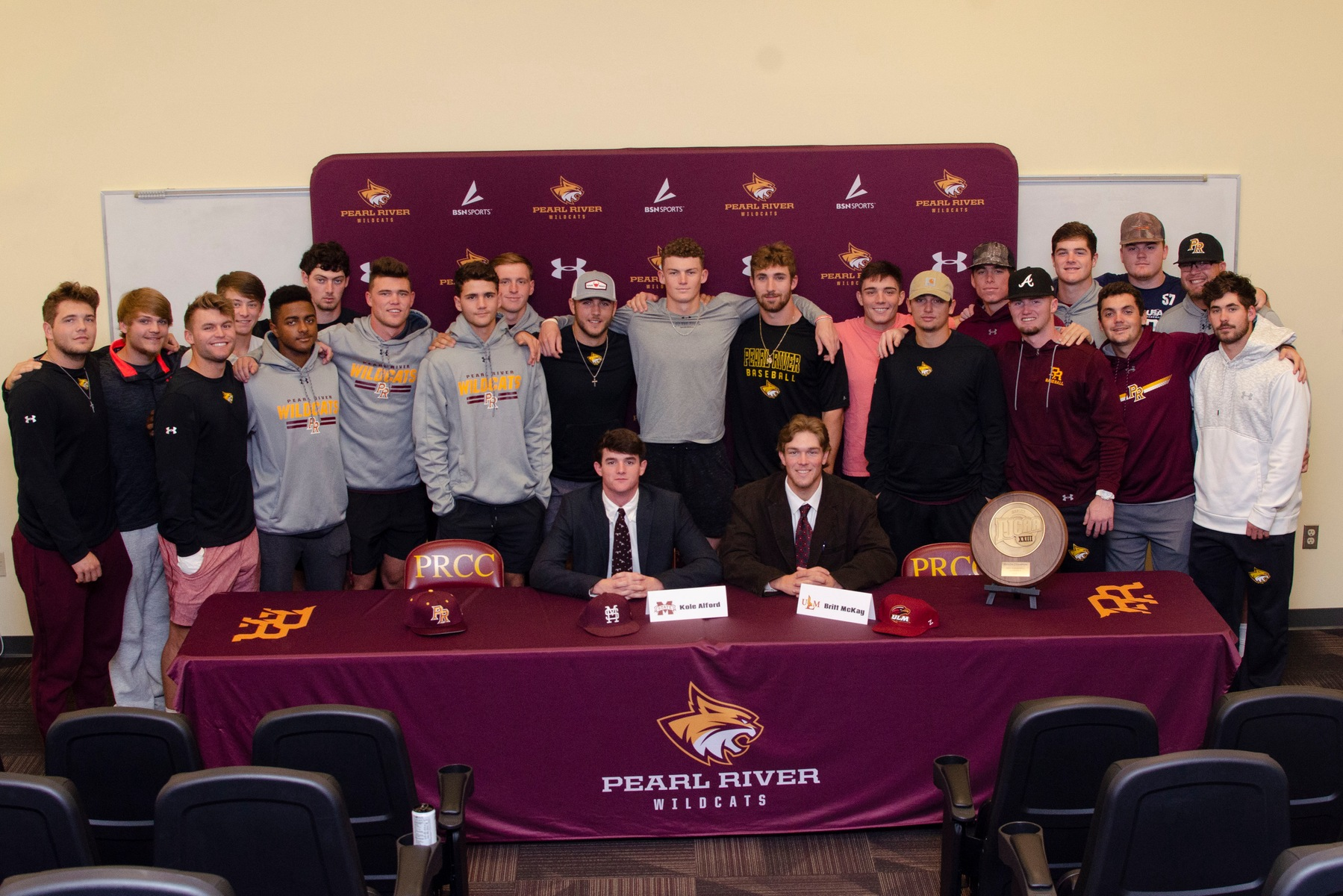 The Pearl River baseball program had two more Wildcats sign at the next level on Thursday, Nov. 21, 2019 inside the team meeting room at the football Fieldhouse. Kole Alford signed with Mississippi State and Britt McKay signed with Louisiana-Monroe. (KRISTI HARRIS/PRCC ATHLETICS)