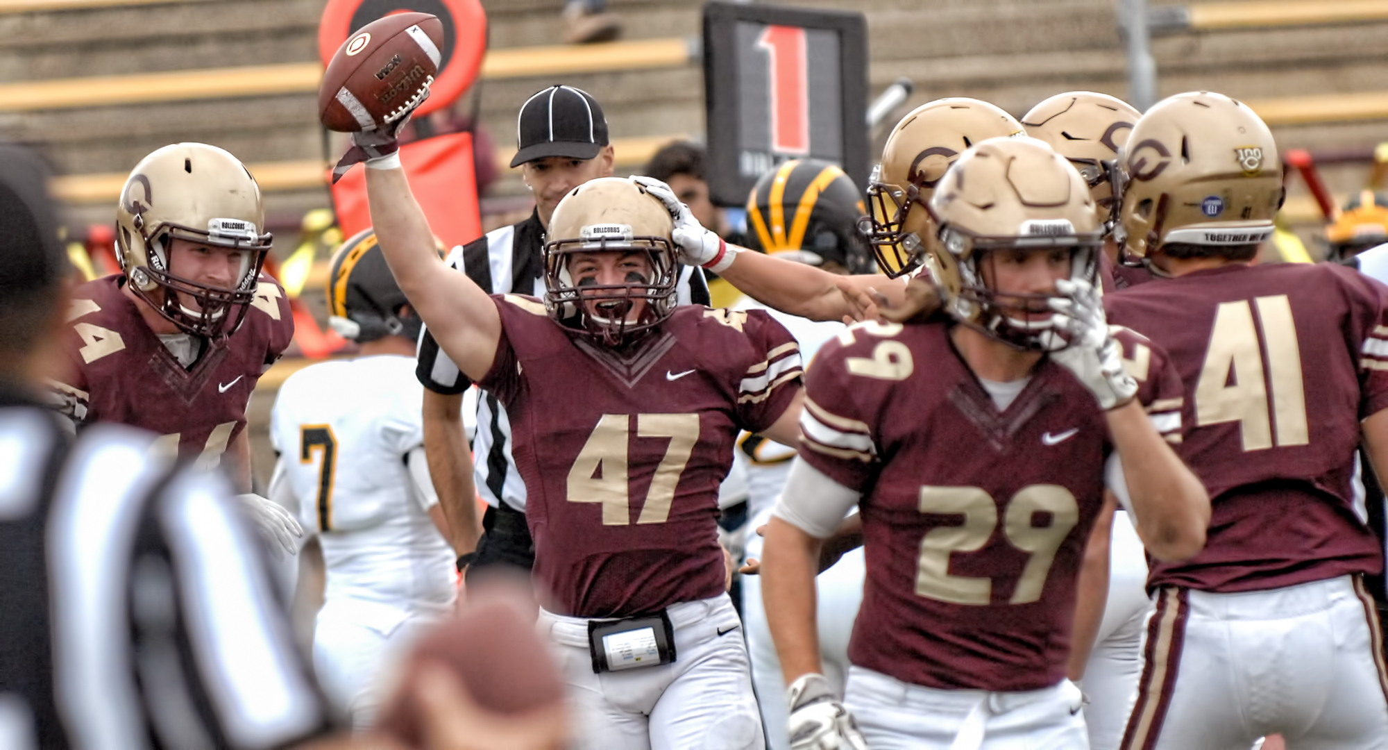 Sophomore Sam Michel is all smiles after recovering a fumble on a kickoff in the Cobbers' 27-17 win over Gustavus.