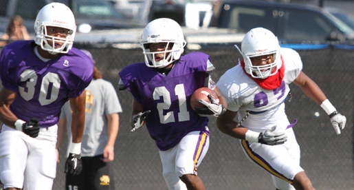 Several freshmen sparkle in first Golden Eagle scrimmage