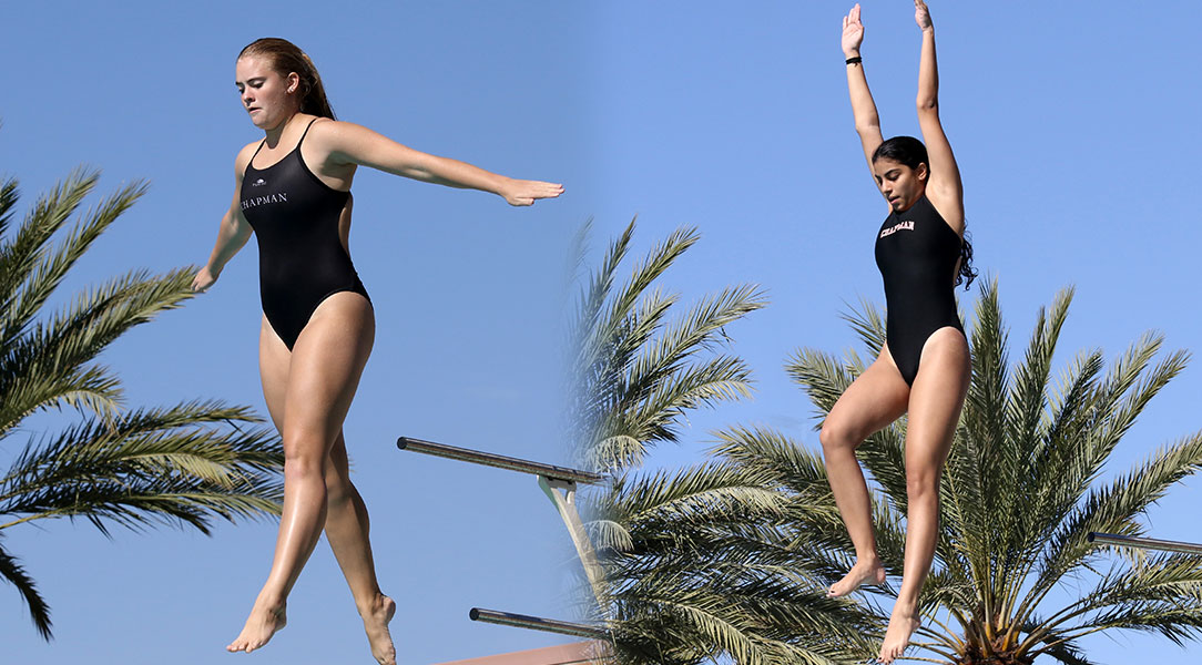 Kellyn Toole and Simran Rajani approach a dive.