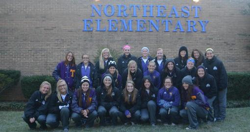 Tech soccer team leads National Walk to School Day at Northeast Elementary