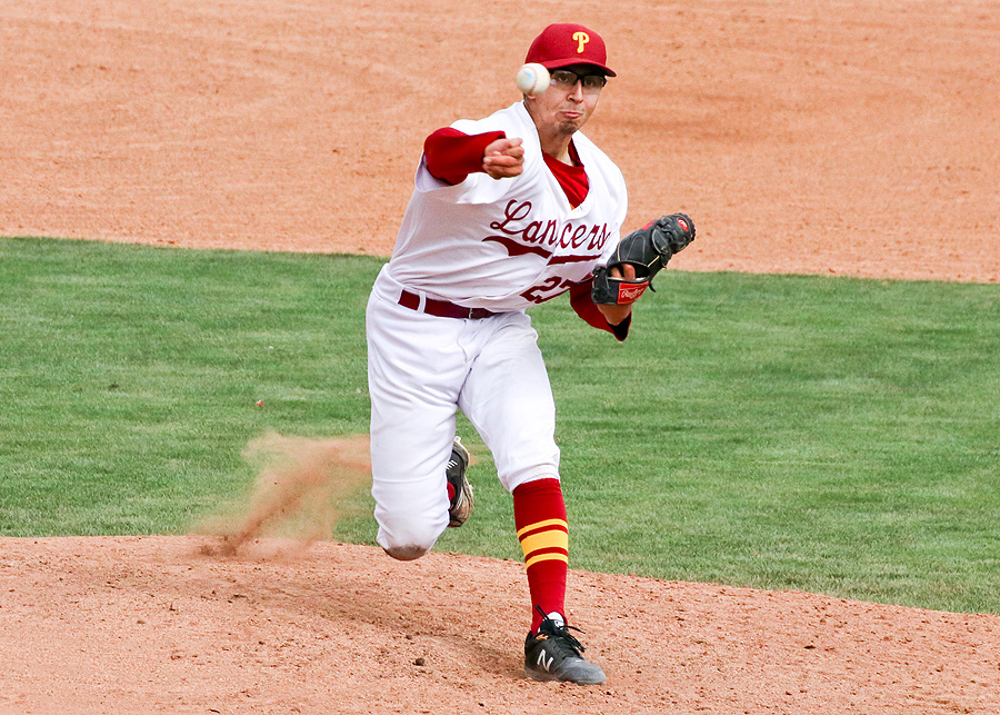 Patrick Pena fires a pitch as he helped PCC win its SoCal Regional Play-In Round game v. Citrus on Tuesday, photo by Richard Quinton.