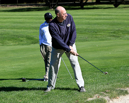 Athletic Director Mike Weinstock on the course