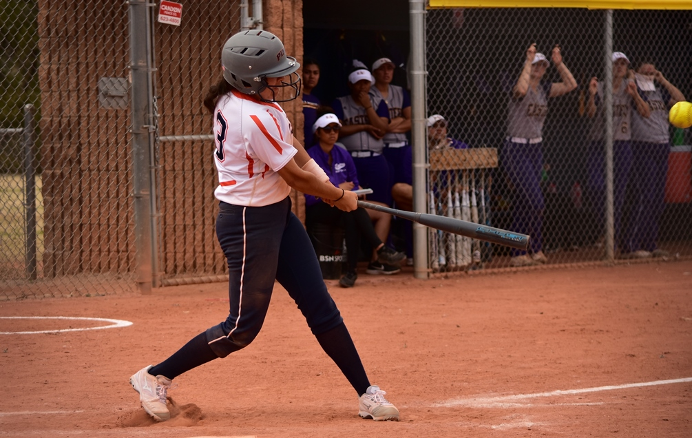 Sophomore Janice Garcia (Rio Rico HS) had a two-run RBI single and finished 3 for 4 with two RBIs and three runs scored in Pima's elimination game victory. The Aztecs upset No. 2 seed Yavapai College to stay alive in the NJCAA Region I, Division I Tournament. The Aztecs must run the table on Saturday to claim the region crown. Their first game is at 10:00 a.m. Photo by Ben Carbajal