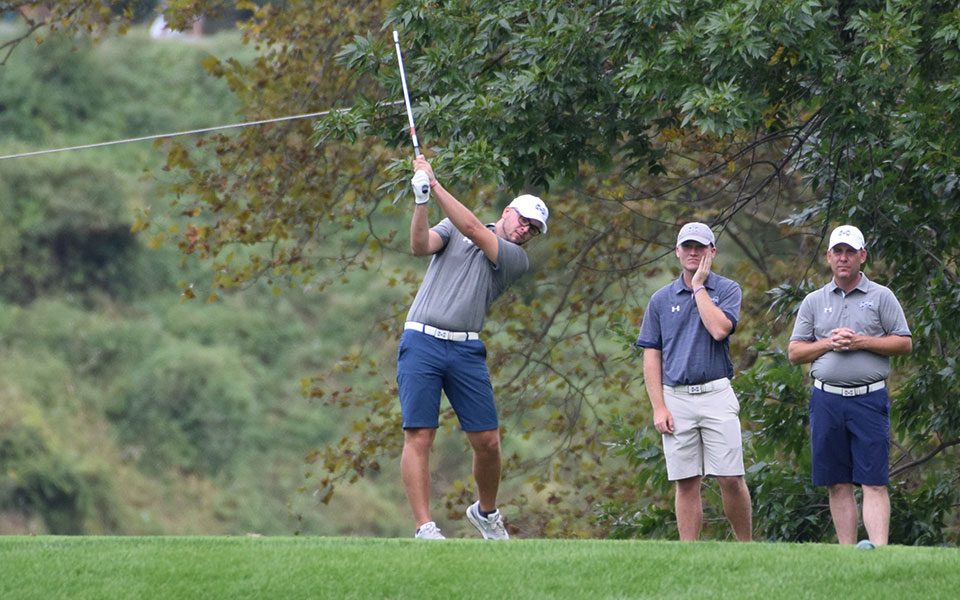 Junior Thomas Lakata tees off on the fifth hole of the Moravian Weyhill Classic in September 2019 played at the Saucon Valley Country Club.