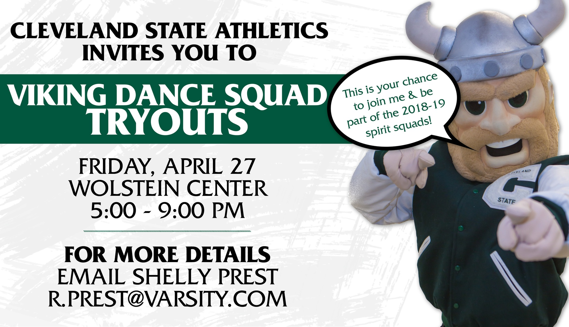 Cleveland State to Hold Viking Dance Squad Tryouts April 27