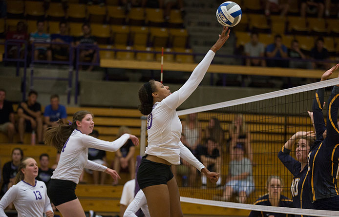 Women's volleyball holds close with NE-10 power Adelphi during eventual 3-1 loss