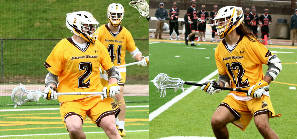 Senior attack Blake Bower and junior All-OAC midfielder Ben Kubiak both broke BW's single-season goals record against Mount Union (Photos courtesy of Mike Bower)