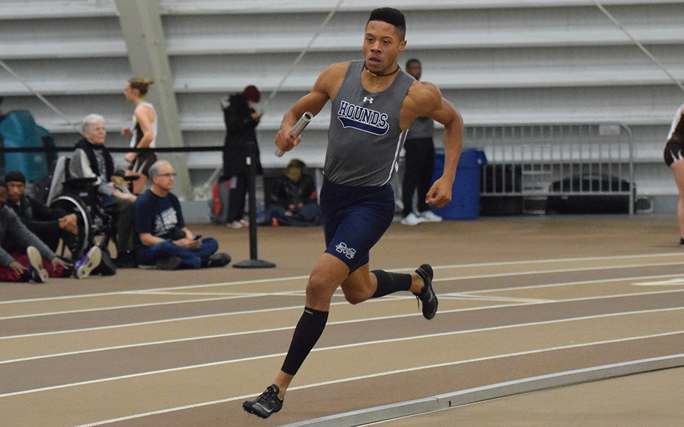 Junior Justin Beasley-Turner competes in a relay race at the Lehigh University Fast Times Before Finals.