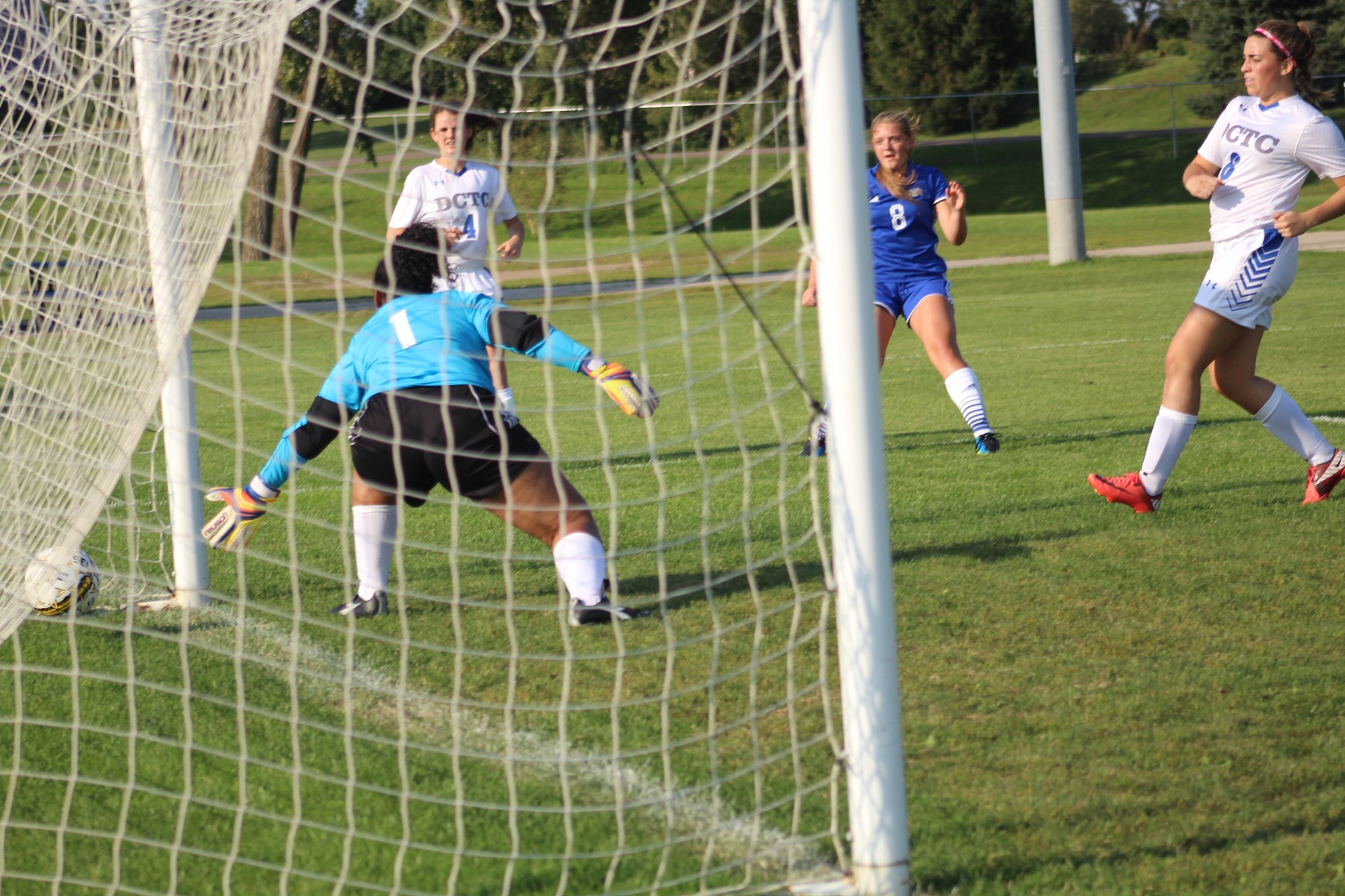 Rylie Smith scores the first goal of the season for the NIACC women's soccer team in Saturday's match against DCTC.