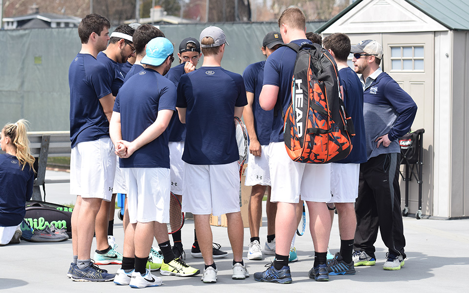 The Greyhounds huddle before the start of a Landmark Conference match versus Goucher College at Hoffman Courts.