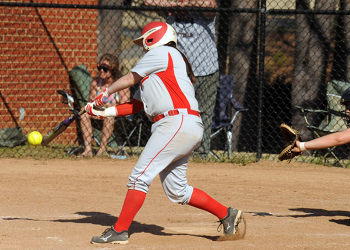 Heather McGuirk, shown here last season, had two hits and two RBIs in Saturday's loss to Webster. (Photo by Wesley Lyle)