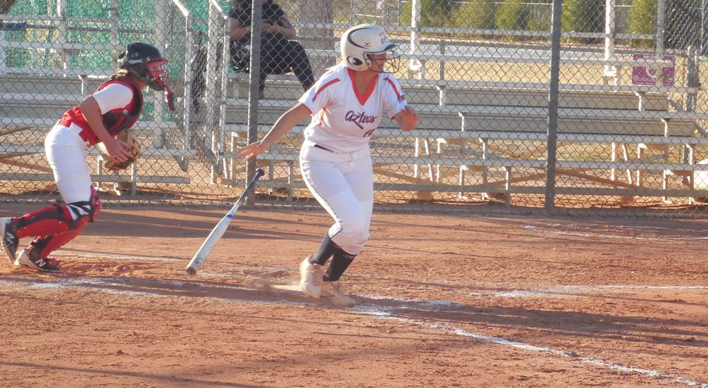 Freshman Mya Cabral (Pueblo HS) had two homeruns and five RBIs but the Aztecs softball team dropped two games at Yavapai College on Saturday. The Aztecs are now 9-5 overall and 2-4 in ACCAC conference play. Photo by Raymond Suarez