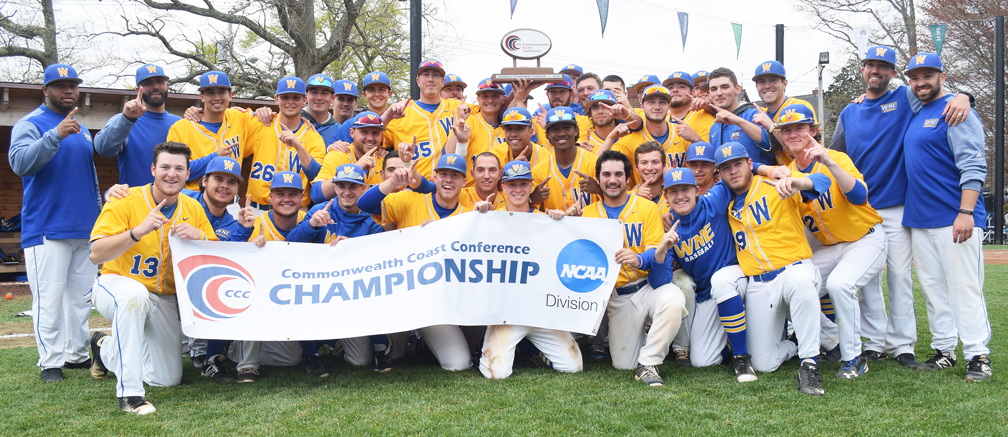 Western New England captured its sixth CCC title and first since 2012 with a 7-6, walkoff victory over Salve Regina on Sunday at Reynolds Field in Newport, R.I. (Photo by Jim Balderston)