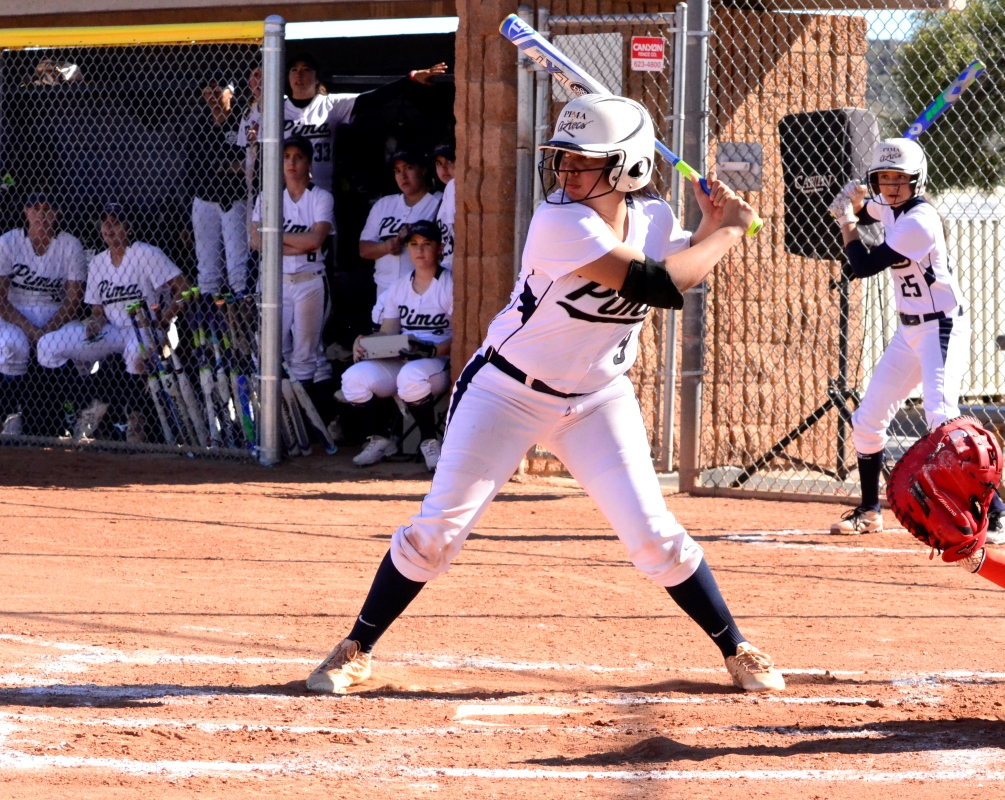 Freshman Megan Flores (Salpointe Catholic HS) went 5 for 7 at the plate as Pima softball earned a non-conference split against Colorado Northwestern Community College. The Aztecs are 10-7 overall. Photo by Ben Carbajal.