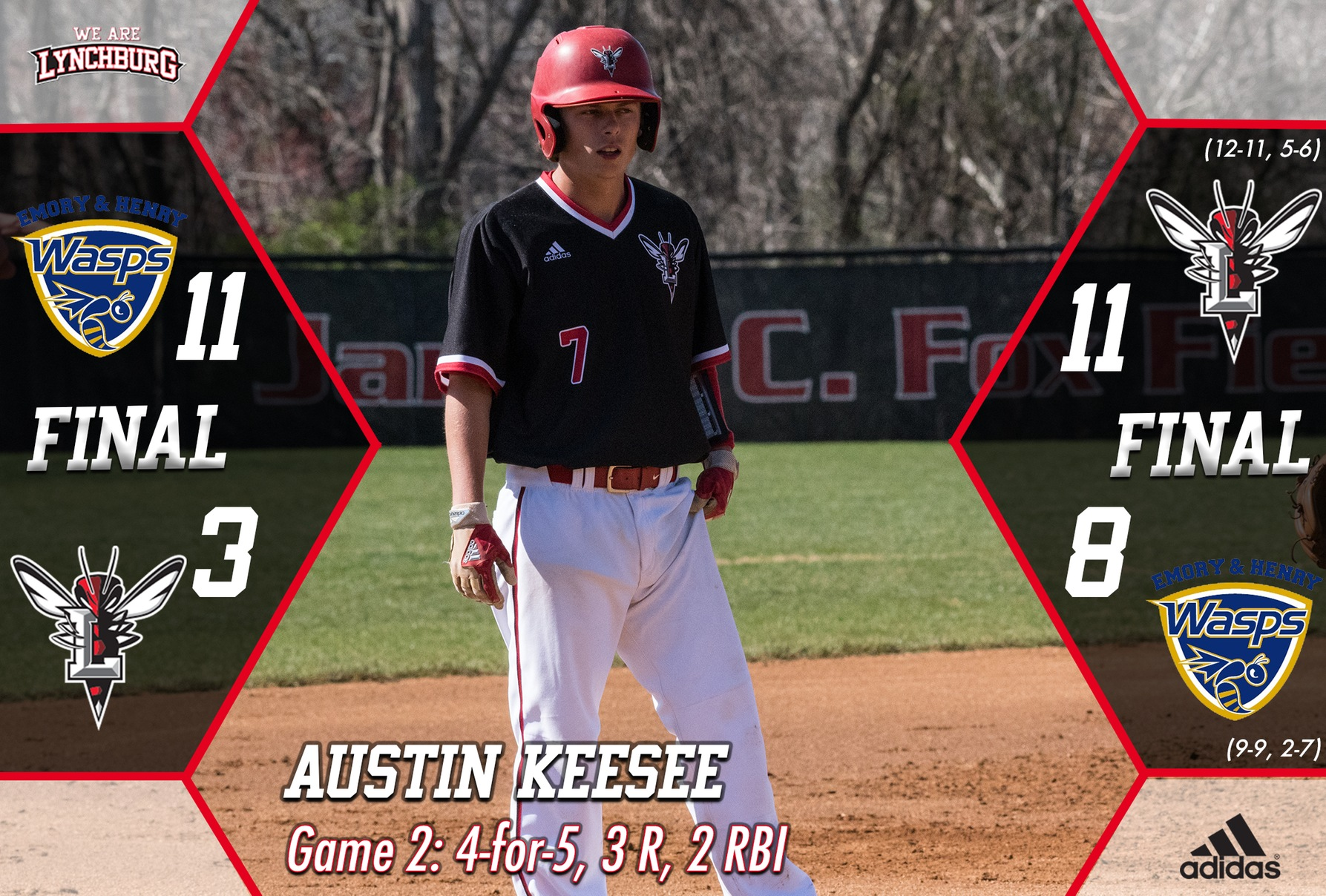 Austin Keesee stands on the bases. Text: Game 2 4 for 5 3 R 2 RBI