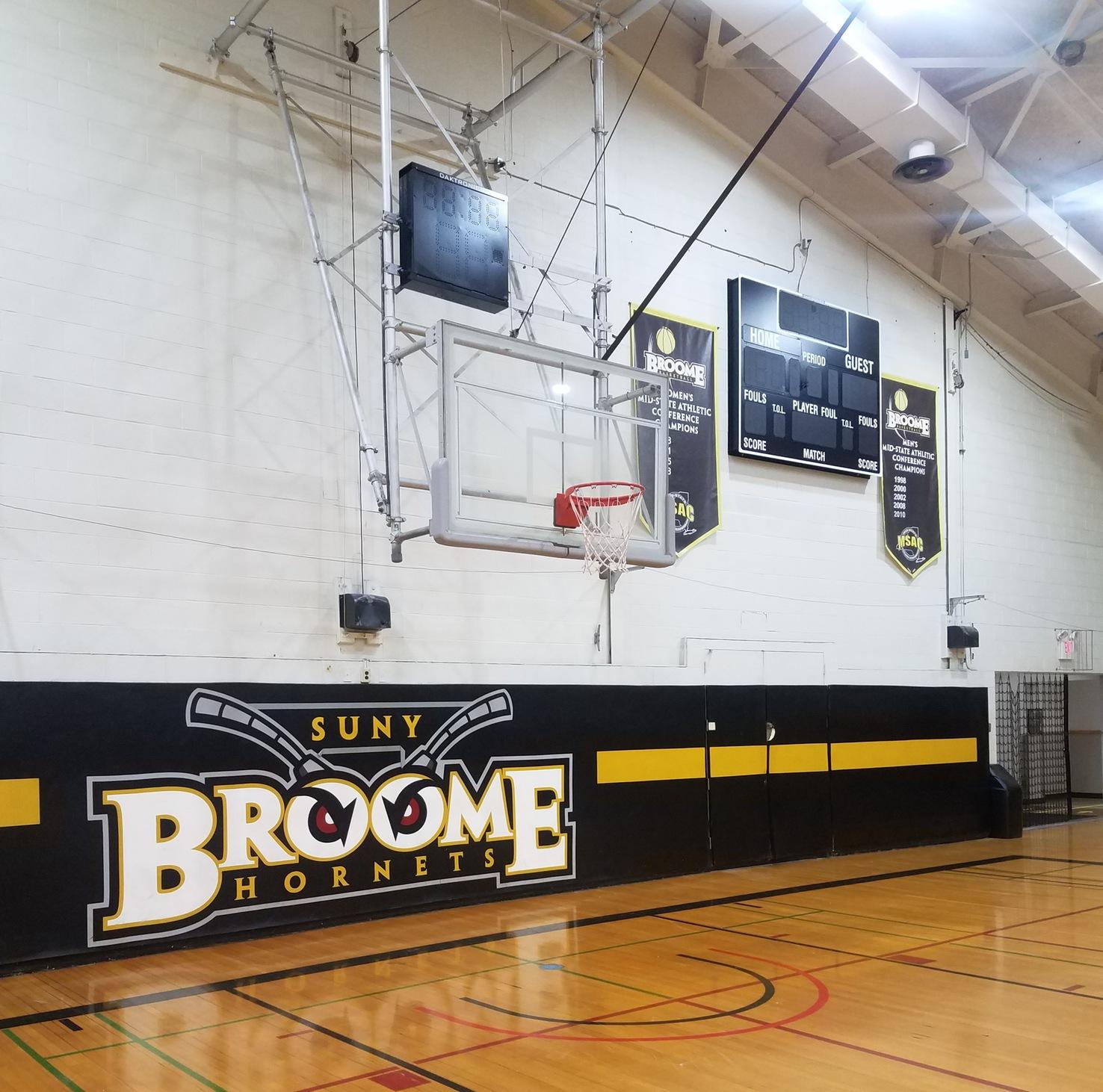 Baldwin Gym photo focusing on the basketball net.
