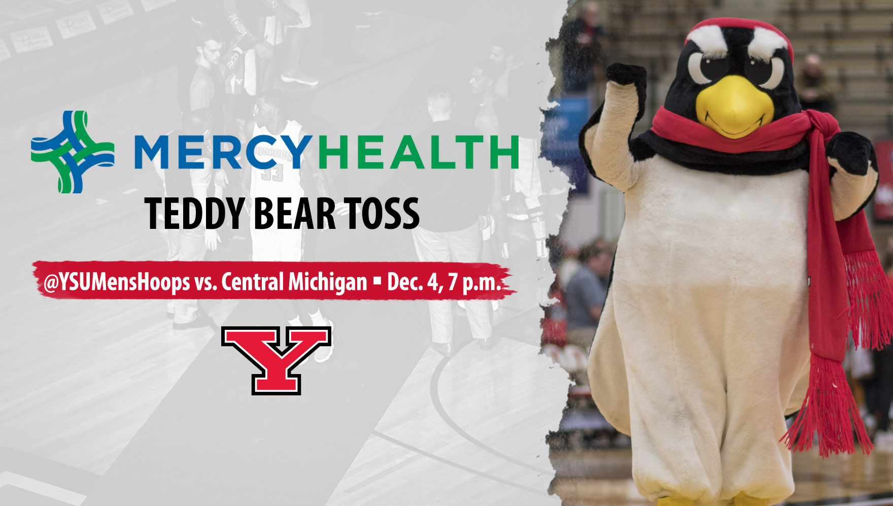 "YSU Athletics Announces ""Teddy Bear Toss"" for the Men's Basketball Game Against Central Michigan"