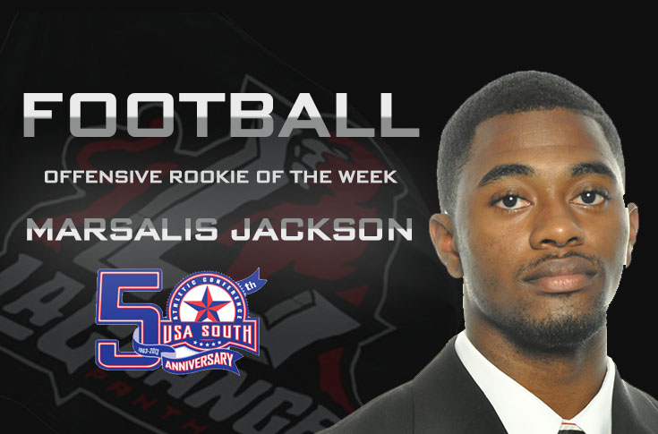 Football: Jackson named USA South Offensive Rookie of the Week for third time