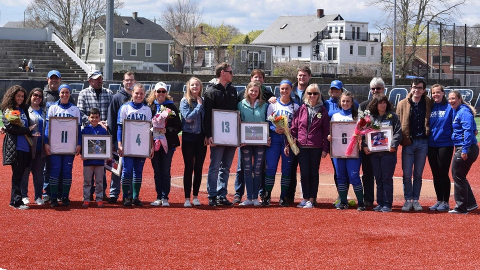 Senior Day for Lindsey Florent, Megan Guest, Holly Kathios, and Amanda Riley at Toppa Field.