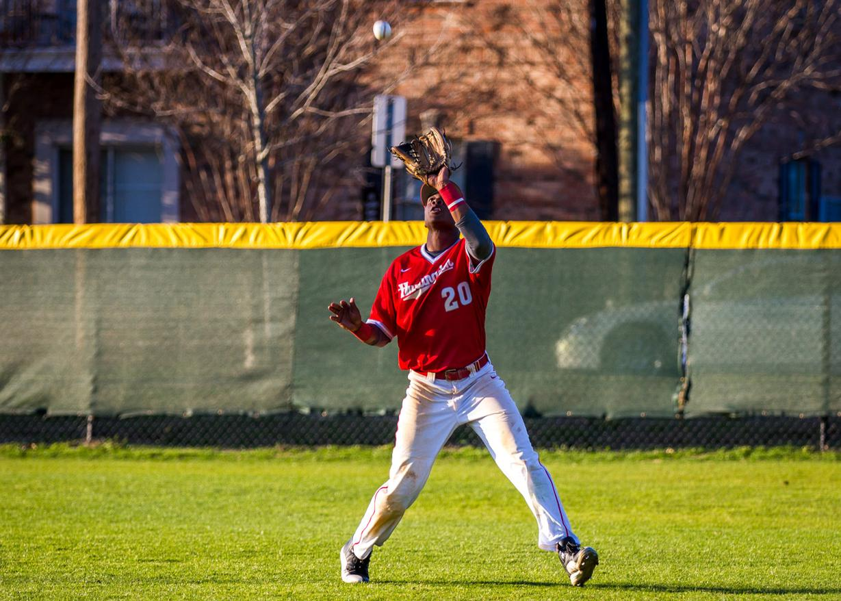 Right fielder Anthony Spivey was 3-for-7 with three runs scored in Saturday's doubleheader with Methodist. (Photo by Christopher Morgan)