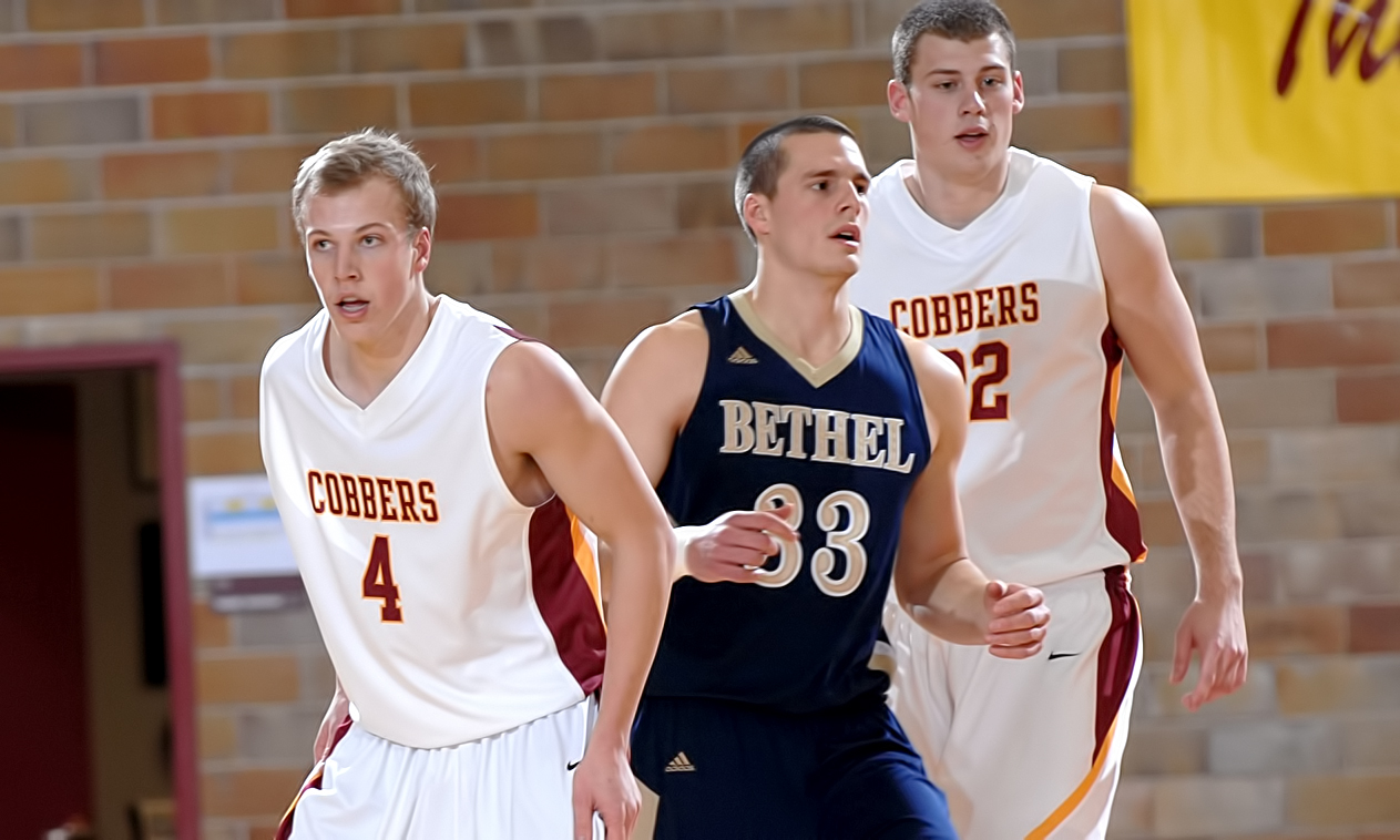 Cobber senior Tom Fraase (#4) had a season-high 22 points in the Cobbers' loss at Bethel. Brady Syverson (#22) added 10 points and six rebounds.