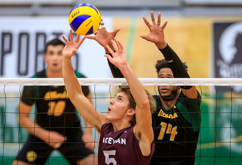 Caleb Weiss sets a ball against the University of Alberta Golden Bears during a non-conference match on Sept. 22 at the Saville Centre (Robert Antoniuk photo).