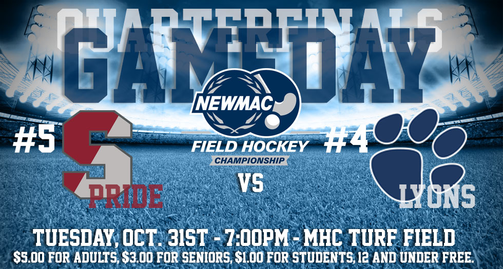 Graphic promoting October 31st's NEWMAC Quarterfinal Field Hockey game between #5 Springfield and #4 Mount Holyoke at 7pm on the Turf Field.