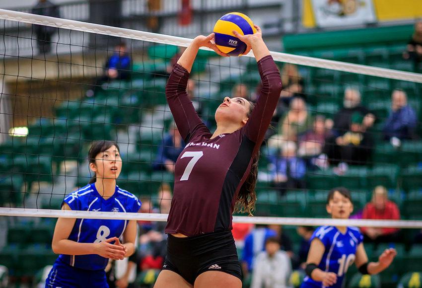 Mackenzie Oshanek-Gladue sets a ball during an exhibition match against Japanese university team NIFS Kanoya at the Saville Centre over the break (Robert Antoniuk photo).