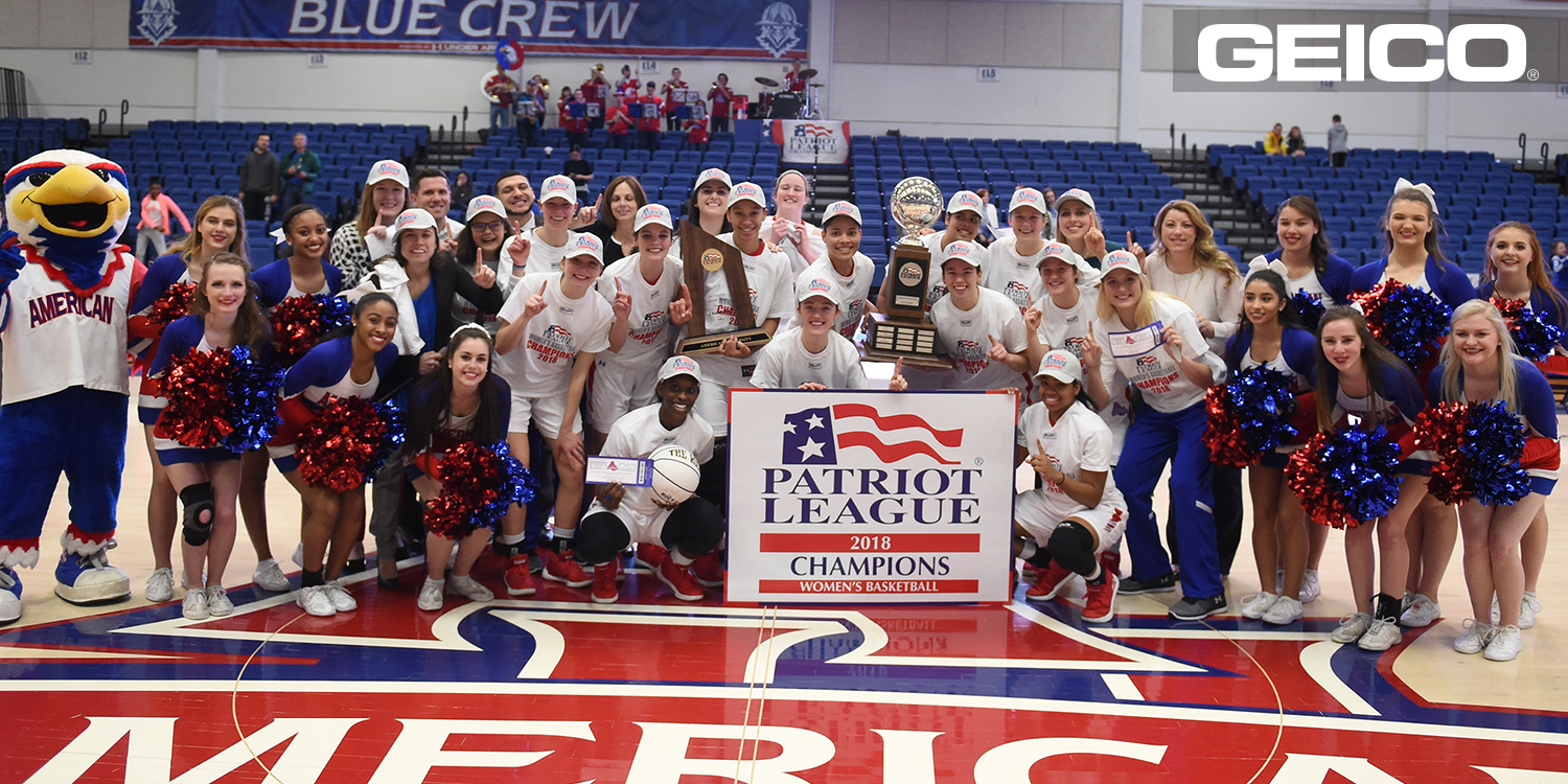 AU Women's Basketball after winning the 2018 Patriot League Championship