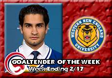 Kyle Carducci-Western New England, Men's Ice Hockey: Goaltender of the Week