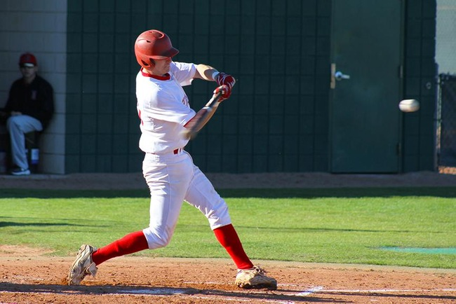 Garrett Smith hit the go ahead RBI triple Tuesday afternoon to give Mesa the 6-5 victory. (photo by Aaron Webster)