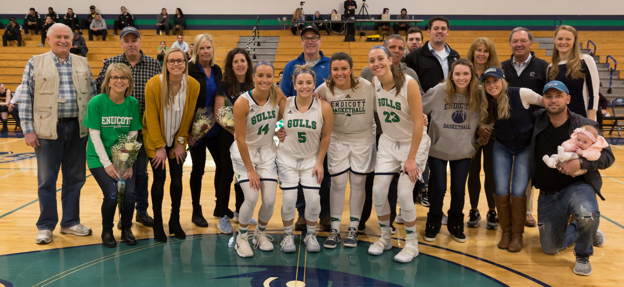 Endicott women's basketball senior day picture.