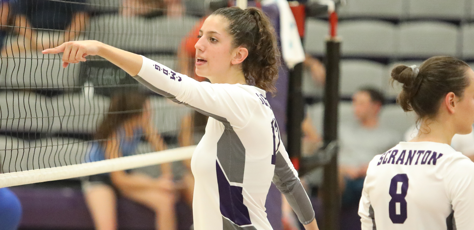 Sophomore Eryn Boken had a season-high 12 kills in a defeat at SUNY-Cortland on Wednesday night. © Photo by Timothy R. Dougherty / doubleeaglephotography.com