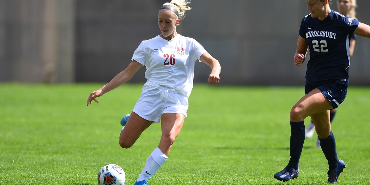 Grace Devanny scored a pair of goals to lead Wesleyan past Bowdoin 2-1 (Steve McLaughlin).