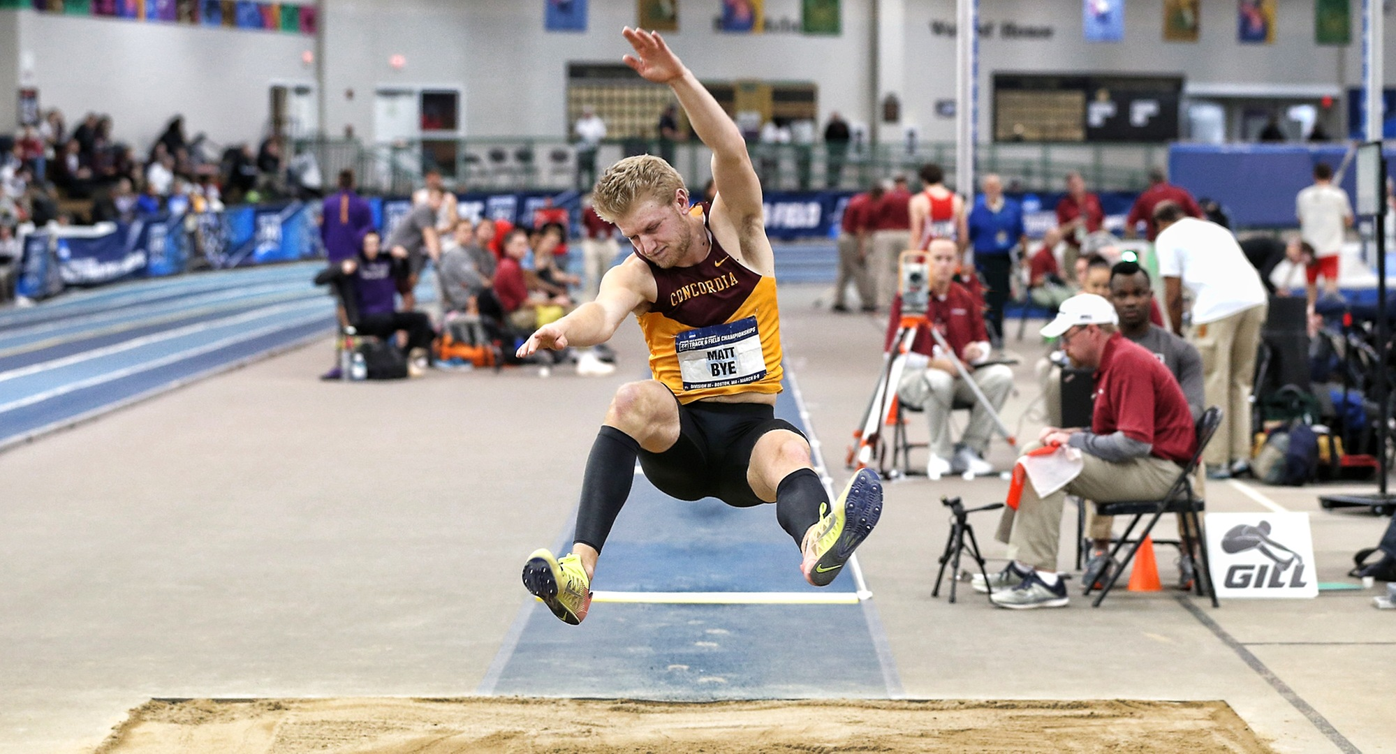 Junior Matt Bye soars to a distance of 20-09.25 in the long jump on his way to an 11th-place finish in the heptathlon at the NCAA National Indoor Meet.