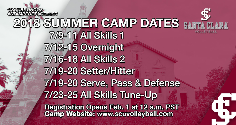 Volleyball 2018 Summer Camp Dates Announced; Registration Opens Feb. 1