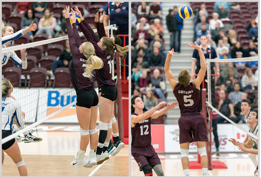 The Griffins volleyball teams will open the season against UBC-Okanagan, left, but will not host cross-town rival Alberta this season, instead meeting them twice at the Saville Centre (Chris Piggott photos),