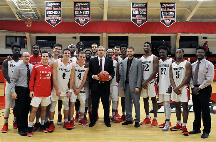 Men's Basketball: Kendal Wallace gets 100th career win as Panthers beat Berea 97-90.
