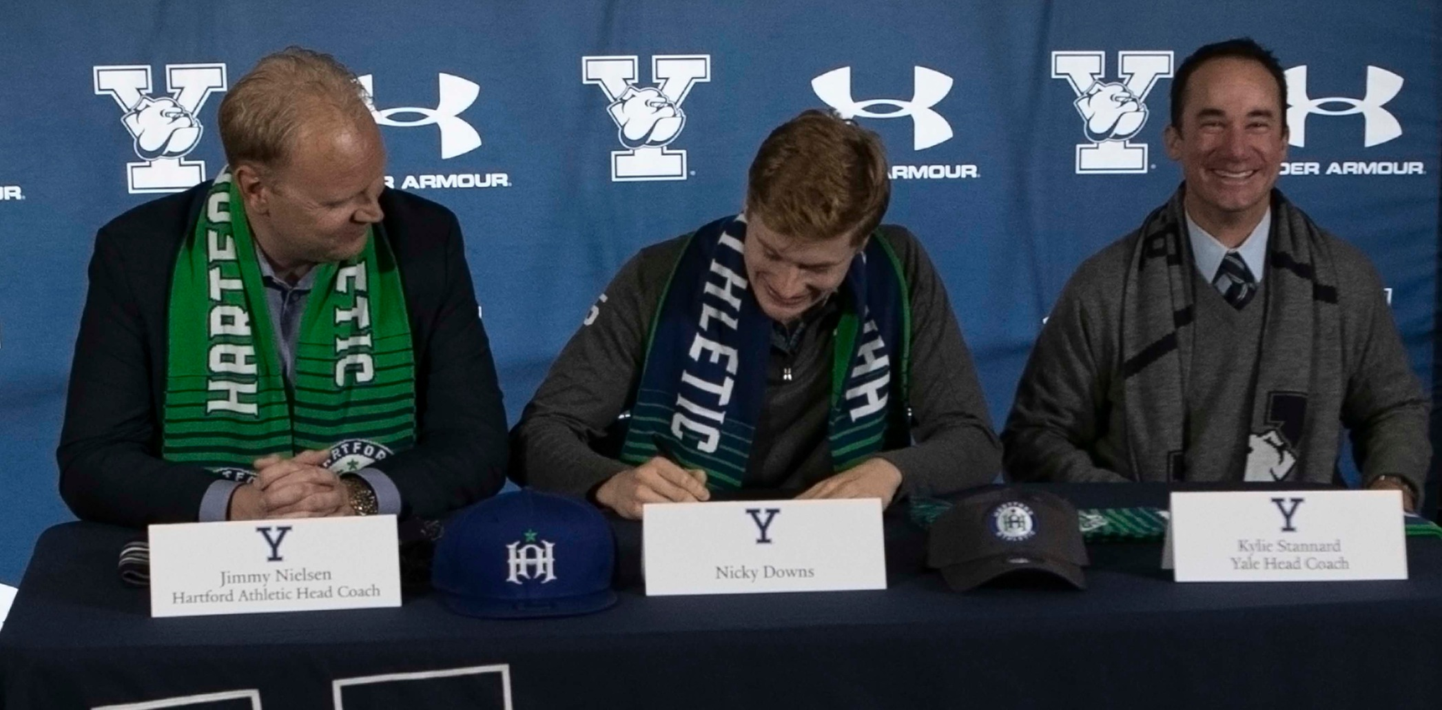 Nicky Downs, center, with Hartford Athletic Head Coach Jimmy Nielsen and Yale Head Coach Kylie Stannard (Steve Musco photo)