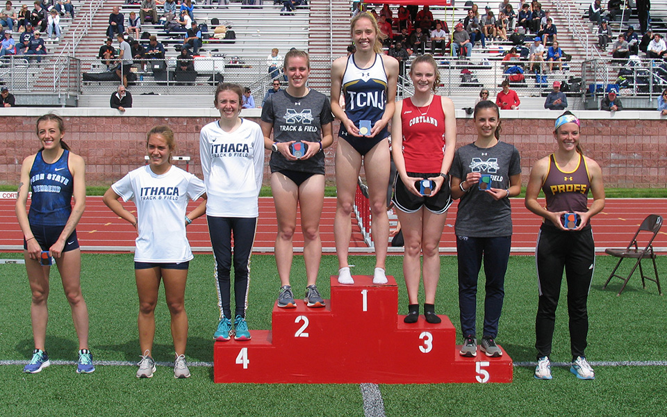 Junior Carly Danoski (2nd) and freshman Natalie Stabilito (5th) on the podium in the 800-meter run at the 2019 All-Atlantic Region Championships hosted by SUNY Cortland. Photo courtesy of SUNY Cortland Athletic Communications.