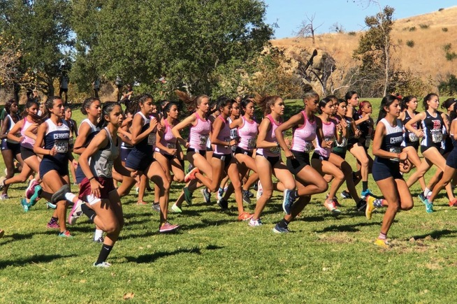 Cerritos women's cross country at the start of the conference championships