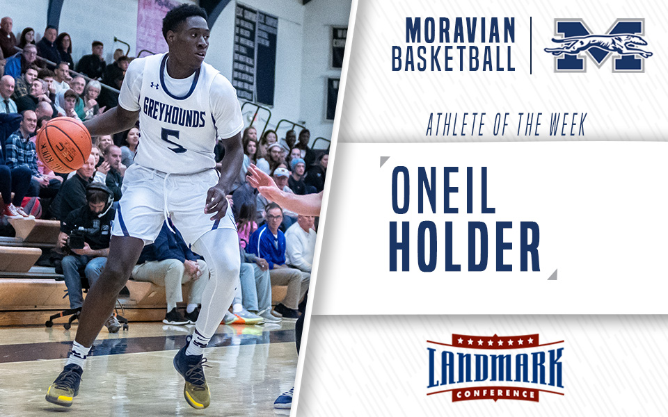 Senior Oneil Holder Named Landmark Conference Men's Basketball Athlete of the Week.