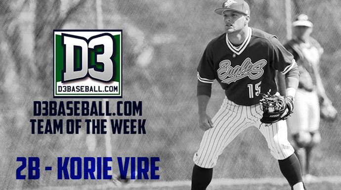 Spalding's Vire Named to D3Baseball.com Team of Week