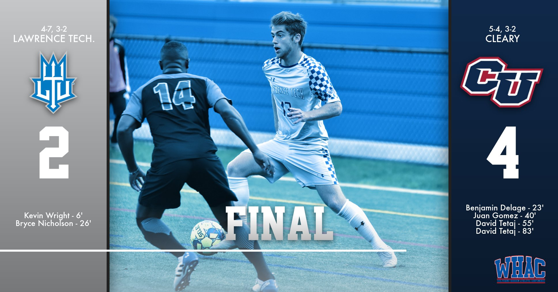 Blue Devils Come Up Short on the Road vs. Cleary (Mich.) University; Wright Scores 5th Goal in Four Matches.
