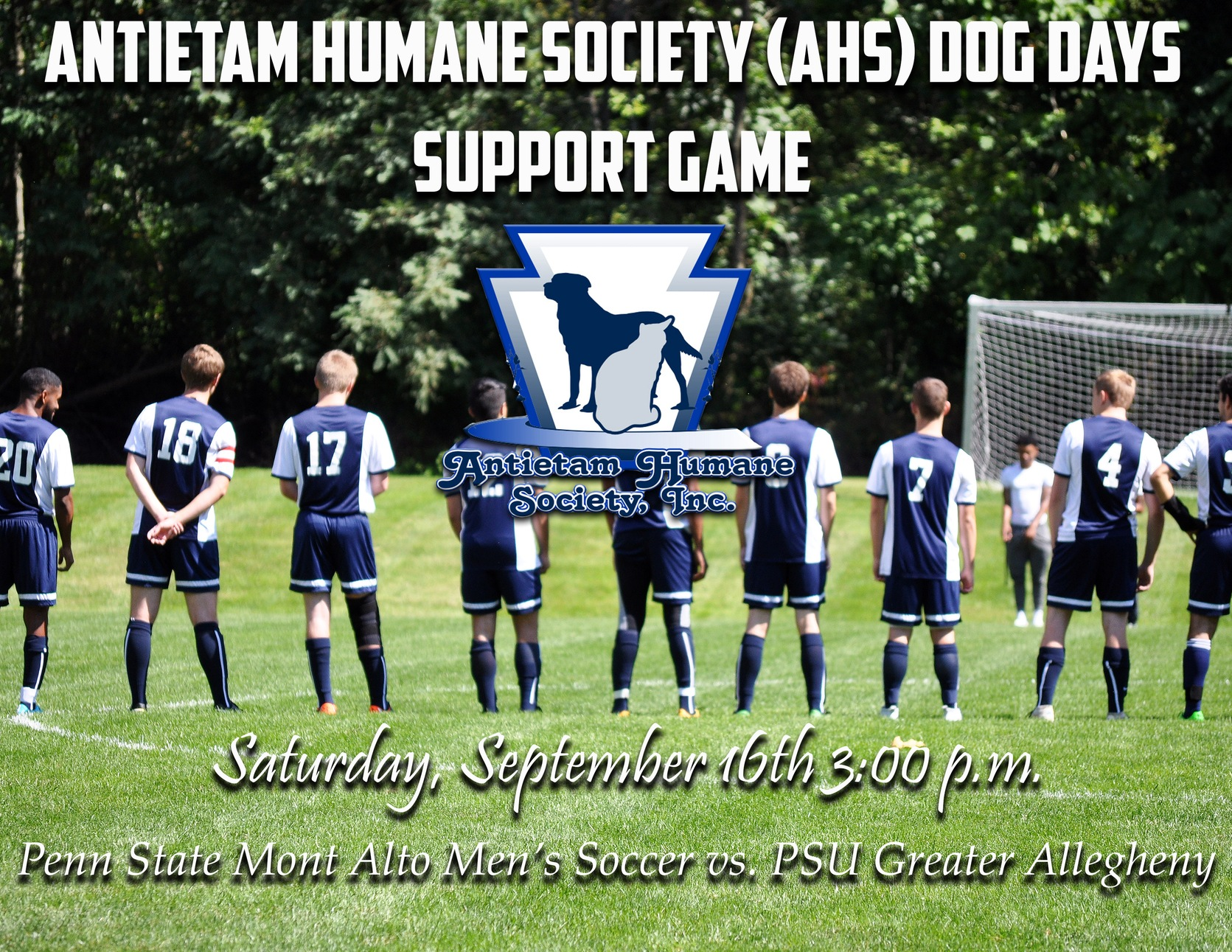 Men's Soccer to Host Antietam Humane Society Benefit Game This Weekend Against PSU Greater Allegheny