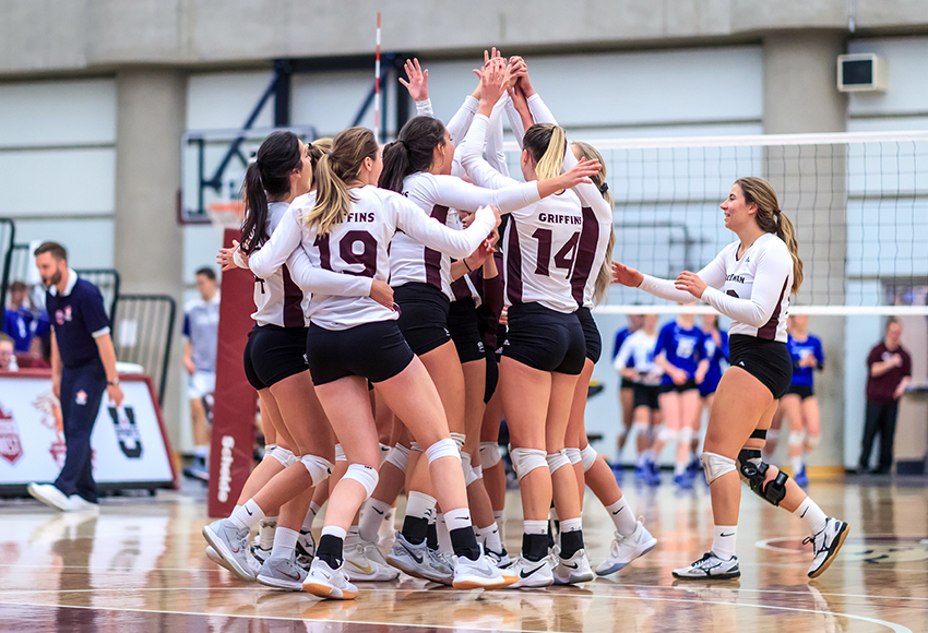 The MacEwan Griffins women's volleyball team celebrates a win over UBC-Okanagan earlier this season. They will aim to keep things rolling against cross-town rival Alberta this weekend (Robert Antoniuk photo).
