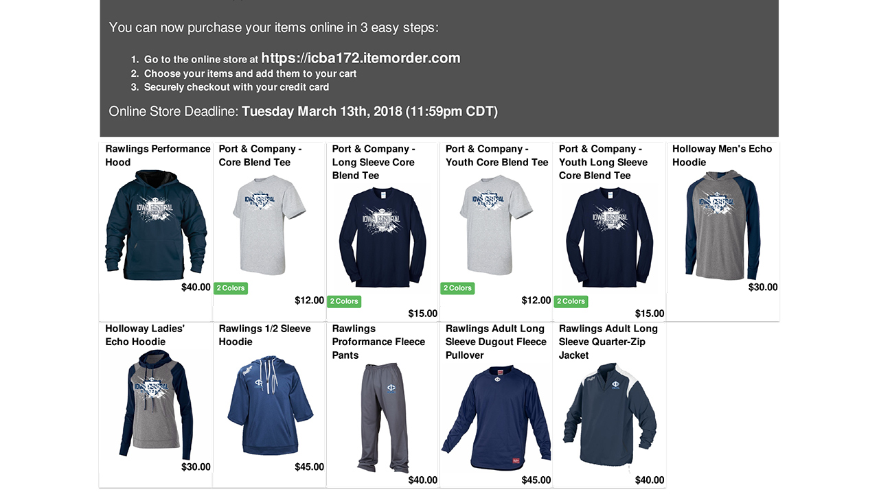 Baseball Webstore open until March 13th